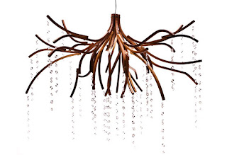 Wood Chandelier With Swarovski Crystals