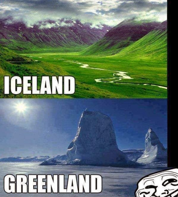 funny pictures for facebook share - iceland vs greenland