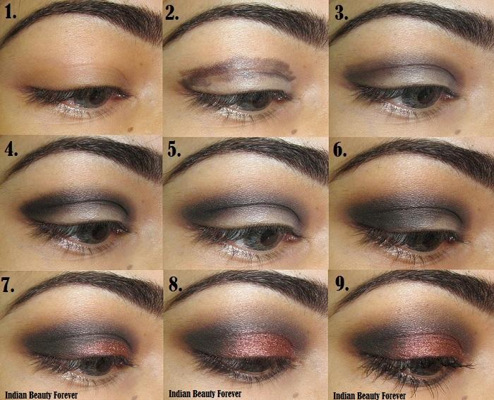 Tutorial for smokey eye makeup with berry eye shadow