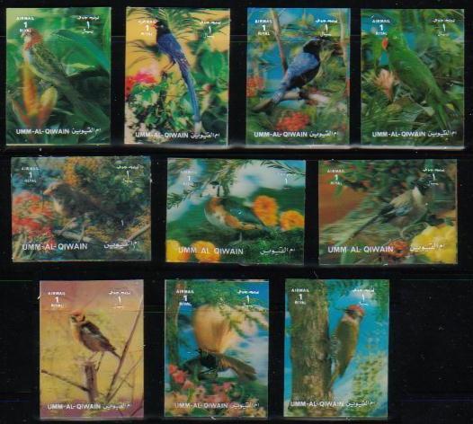 1972年ウムアルキワイン 3D切手 鳥のシリーズ10種