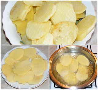 preparare cartofi prajiti pentru prepararea de musaca, retete culinare, retete de mancare,