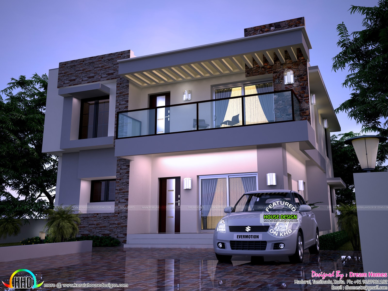 Modern home in 2200 sq ft kerala home design and floor plans for Modern square house