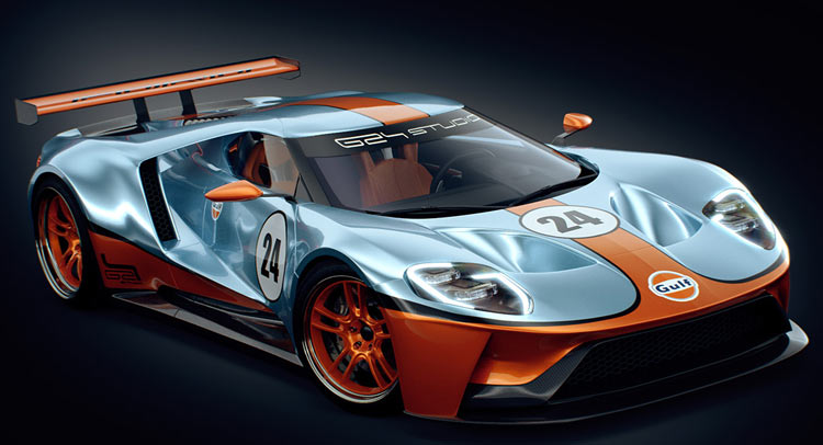Ford Gt Racer Rendered With Iconic Gulf Livery