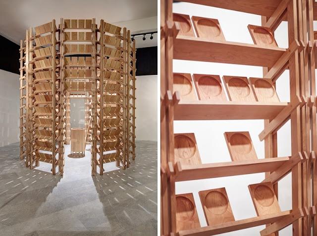 Estructura en madera de cerezo realizada con t cnicas de - Escalera japonesa ...