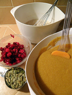 4 Bowls: Wet Ingredients, Dry Ingredients, Cranberries, Pumpkin Seeds