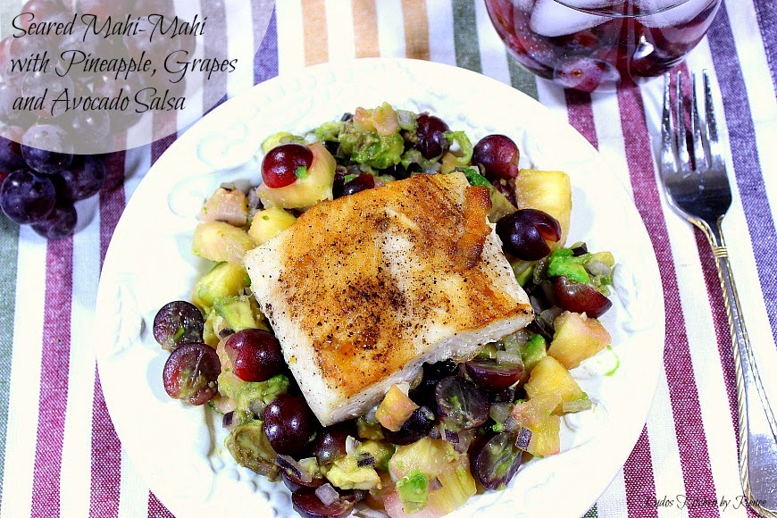Seared Mahi-Mahi with Pineapple, Grape and Avocado Salsa is lightly sweet from the natural sweetness of the fish, and from the tropical flavors of the fresh fruit and avocado salsa - Kudos Kitchen by Renee