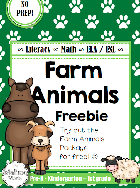 https://www.teacherspayteachers.com/Product/FREEBIE-Farm-Animals-Vocabulary-Math-and-Literacy-Package-ELA-ESL-No-Prep-1814855