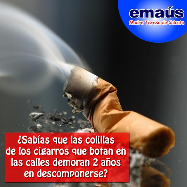 ¿Sabías que las colillas de los cigarros que botan en las calles demoran 2 años en descomponerse.
