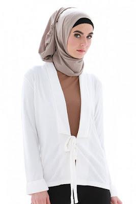 Contoh Jas Wanita Muslimah Bahan Katun Terbaru Putih