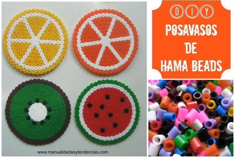 Posavasos hechos con pyssla de Ikea o hama beads