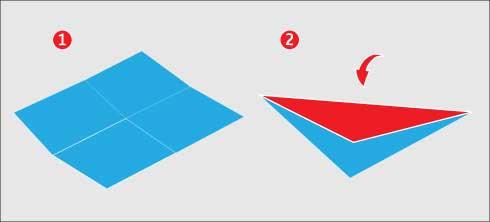 Doblar el triángulo para hacer el remolino de papel