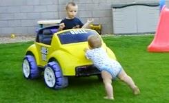 Baby Gets Bro In Car Unstuck