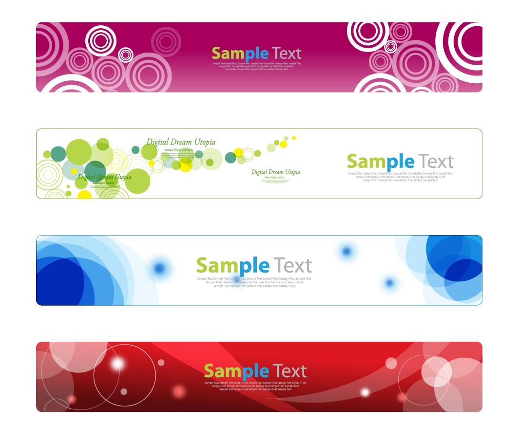 お洒落にサークルを配置したバナー Horizontal Banner Set for Web イラスト素材