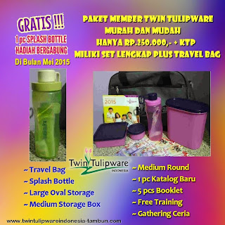 Gratis 1 pc Splash Bottle join Twin Tulipware bulan Mei 2015