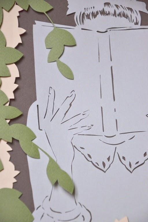 il piacere della lettura illustrazione paper cut realizzata a mano