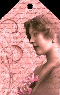 tag vintage de color rojo para manualidades de scrapbooking con dama antigua y flores