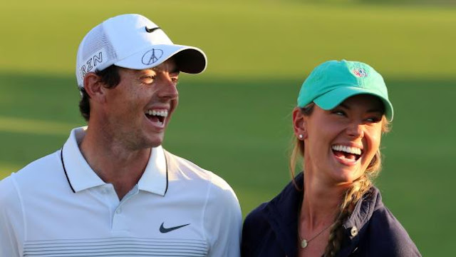 Ready to settle down ... Golfer Rory McIlroy of Northern Ireland with his girlfriend Erica Stoll.