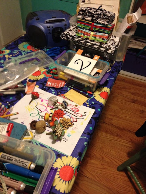 Craft work table in action