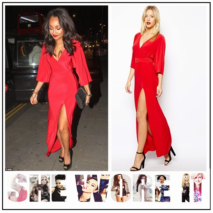 Little Mix, Leigh-Anne Pinnock, ASOS, Bright Red, Deep V Neck, Faux Wrap Front, Kimono Sleeve, Maxi Dress, Thigh High Split, Waist Tie Detail