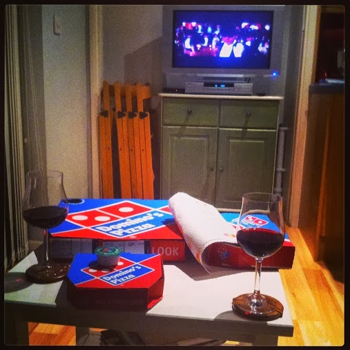 Domino's pizza, red wine and Moulin Rouge on DVD