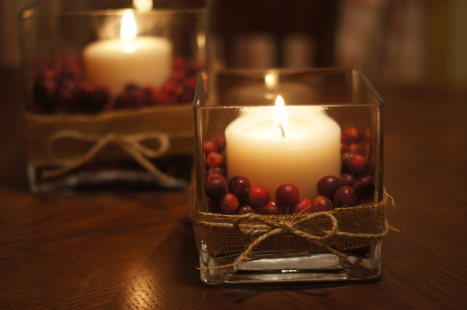 Thanksgiving or christmas cranberry centerpieces