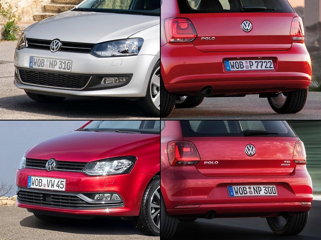 Volkswagen Polo - sprzed (na górze) i po face-liftingu (na dole)
