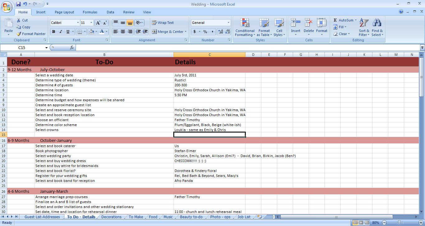 Wedding Excel Templates