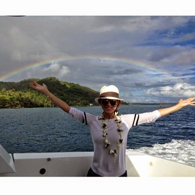 "She posted an image of beautiful rainbow at Bora Bora, by saying into her Instagram account: ""I'm somewhere over the rainbow."""