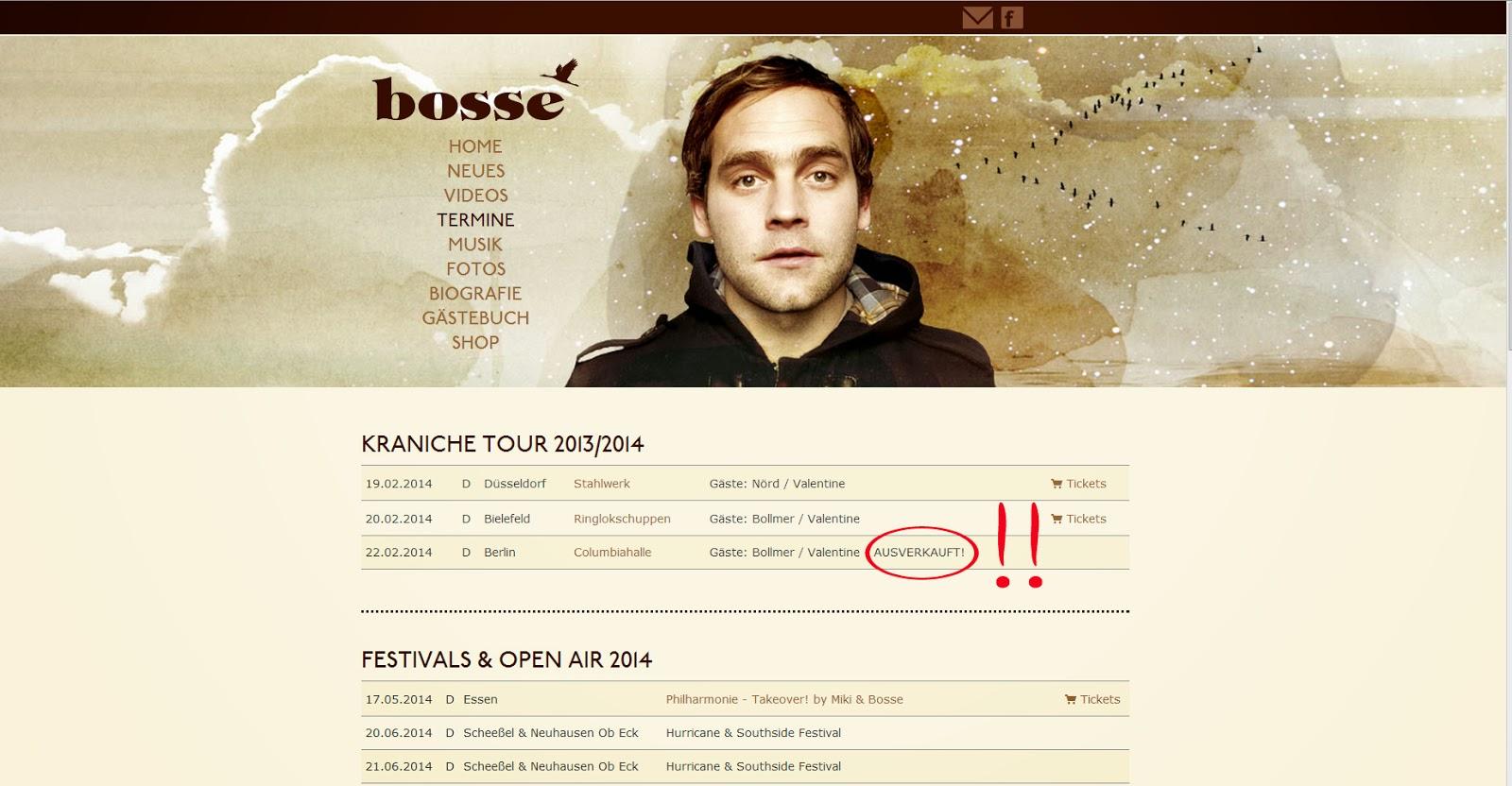 Bosse - Kraniche-Tour, Columbiahalle-Berlin AUSVERKAUFT!!!