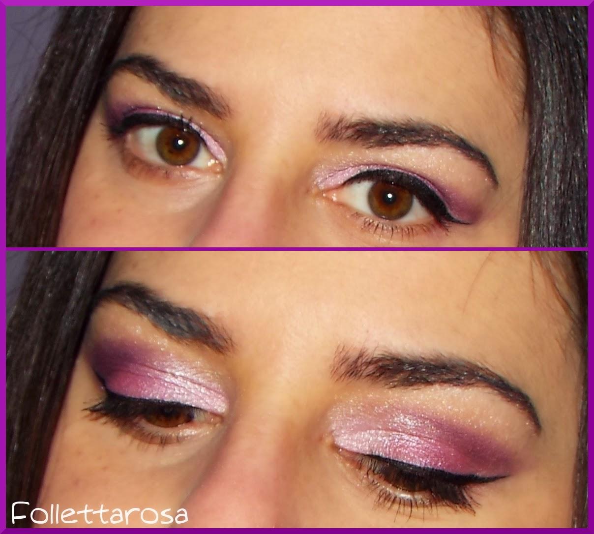 trucco rosa occhi marroni facile