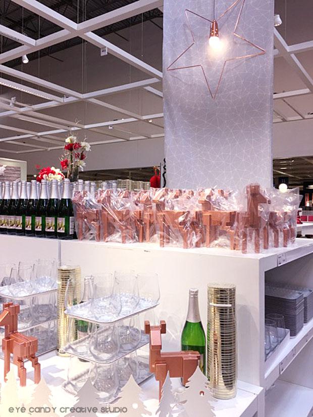 small trays, christmas decor, copper reindeer, IKEA christmas decor
