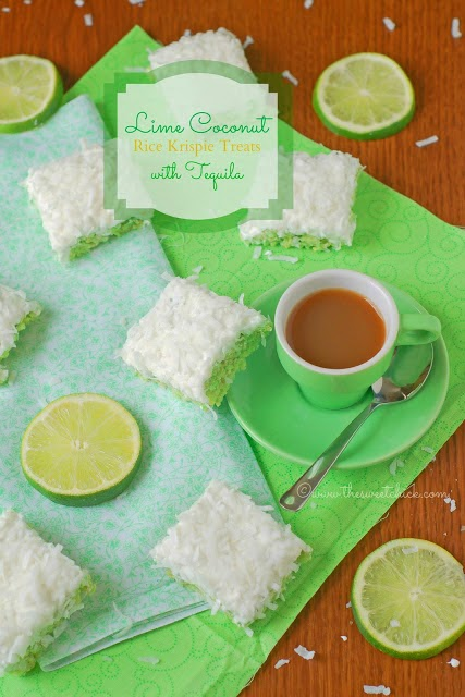 Lime Coconut Rice Krispies @www.thesweetchick.com