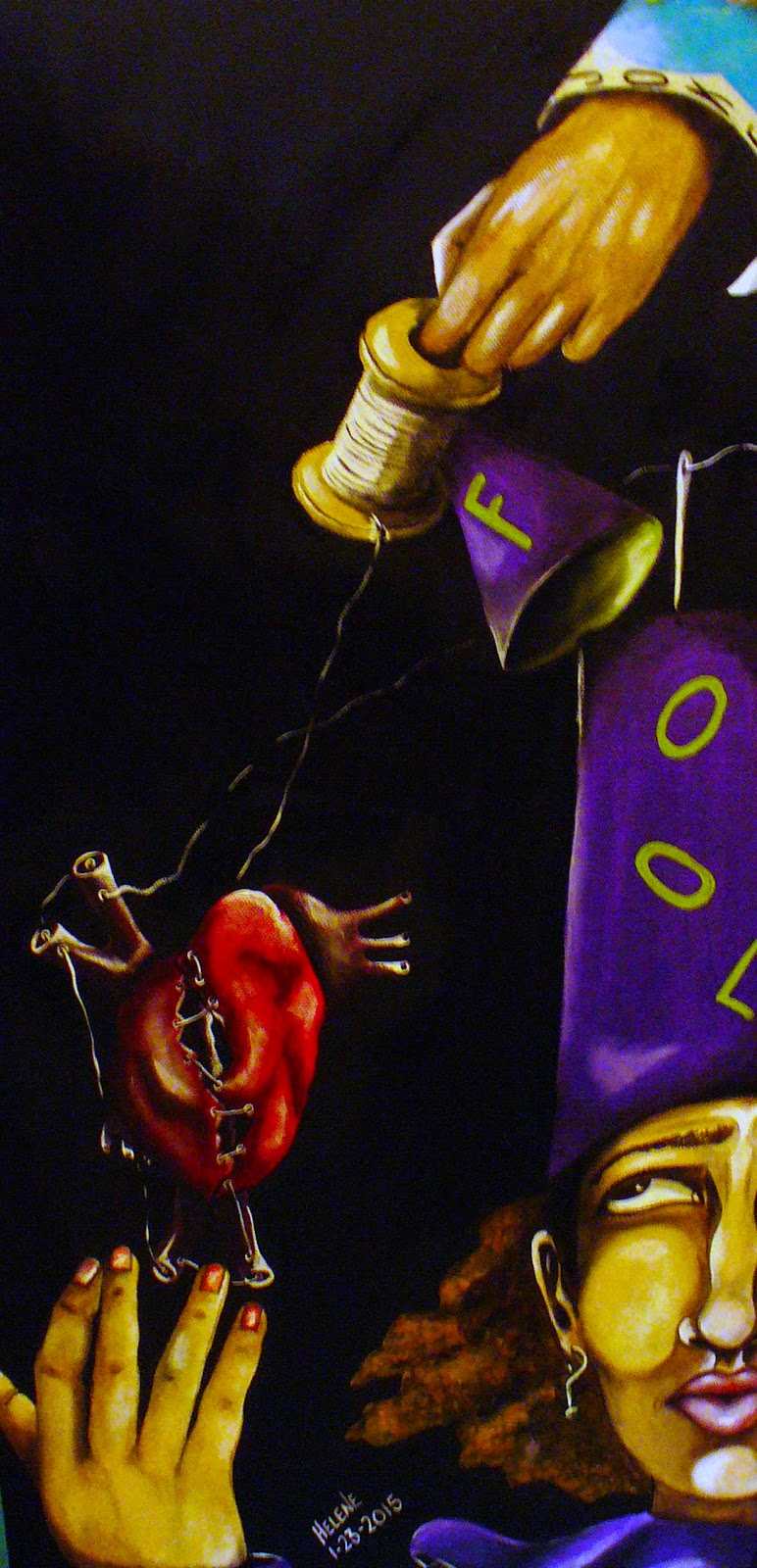 Acrylic figurative painting of woman wearing fools cap reaching for her heart that is caught in string attached to spool. Predominantly purple color with black background.