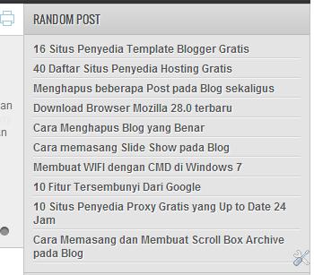 Memasang Random Post pada Blog