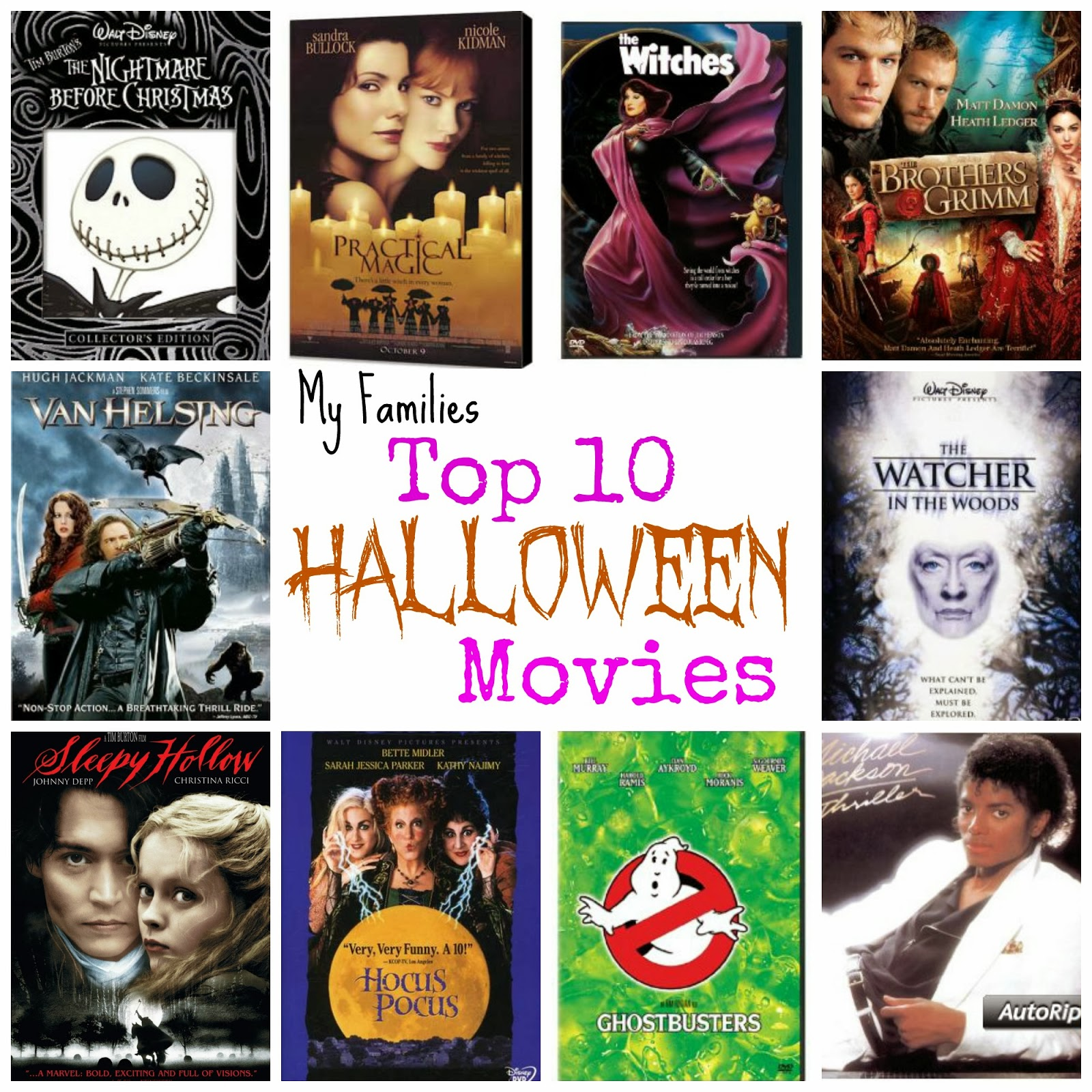 My families Top 10 Favorite Halloween Movies - Food Crafts and Family