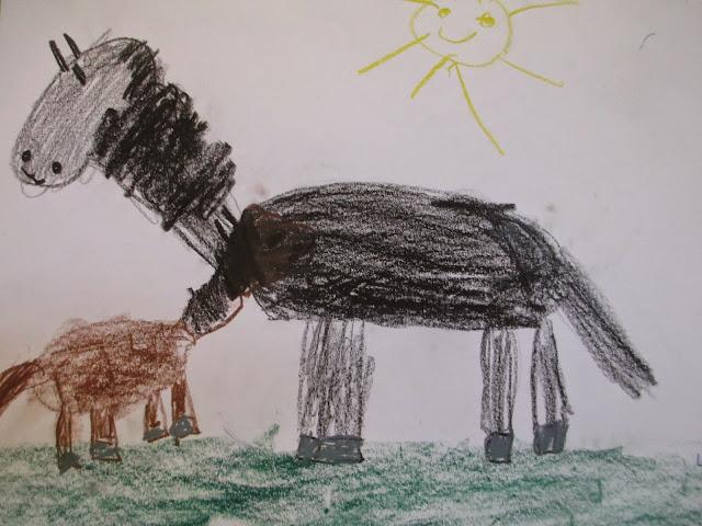 Kinder zeichnen zu Pippi Langstrumpf Thema