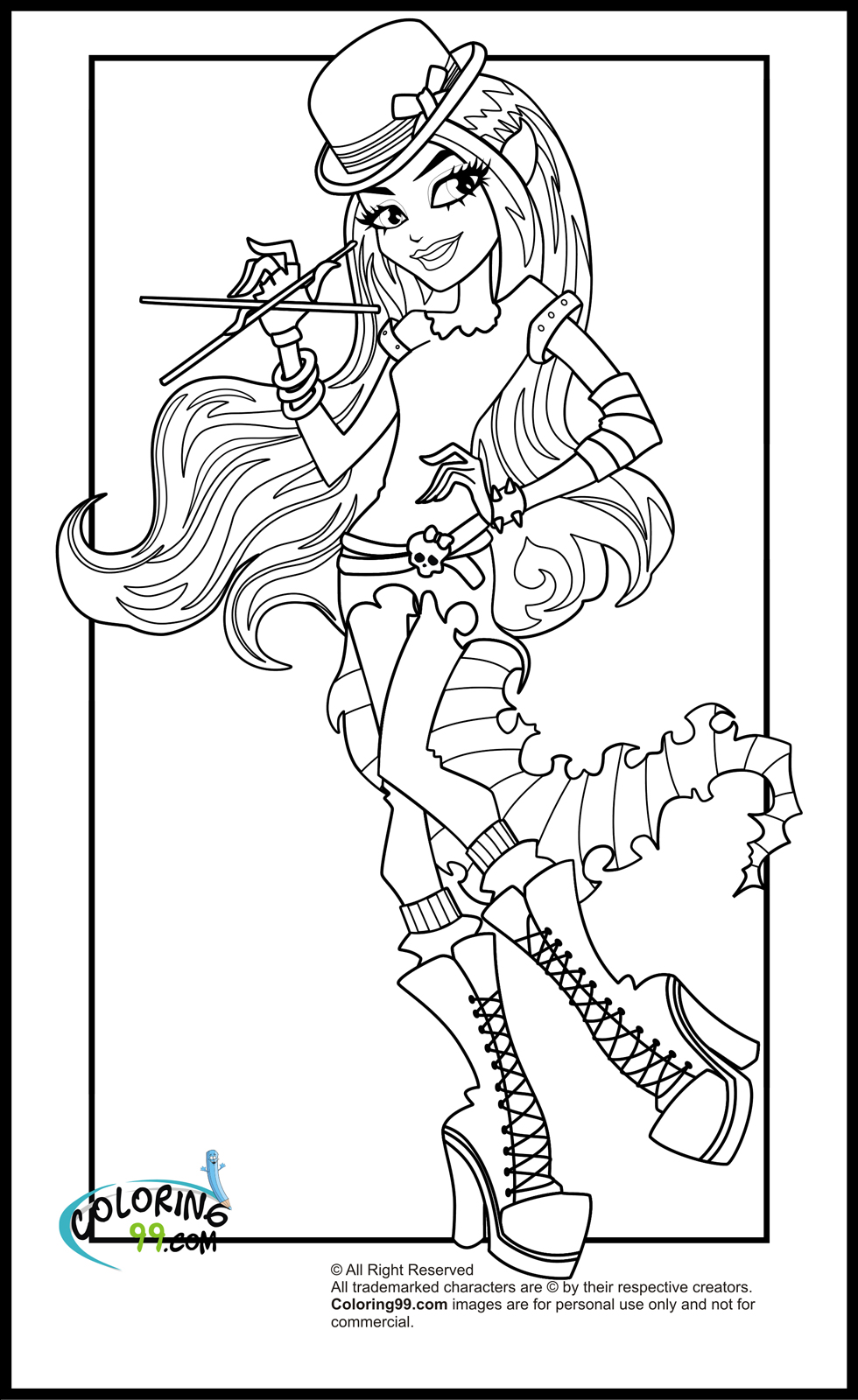 Monster high coloring pages team colors for Monster high printables coloring pages