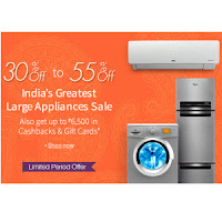 Large Appliances upto 32% off & 30% off + Rs. 1000 Amazon Gift Card on Rs. 10000 & 10% Cashback : Buytoearn