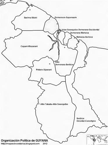 Mapa de la organización política de GUYANA, nombre de las regiones, banco y negro