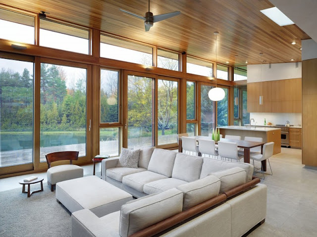 modernist luxurious home one of the sustainable house +HOUSE by Superkül Architects, Ontario, Canada Lake