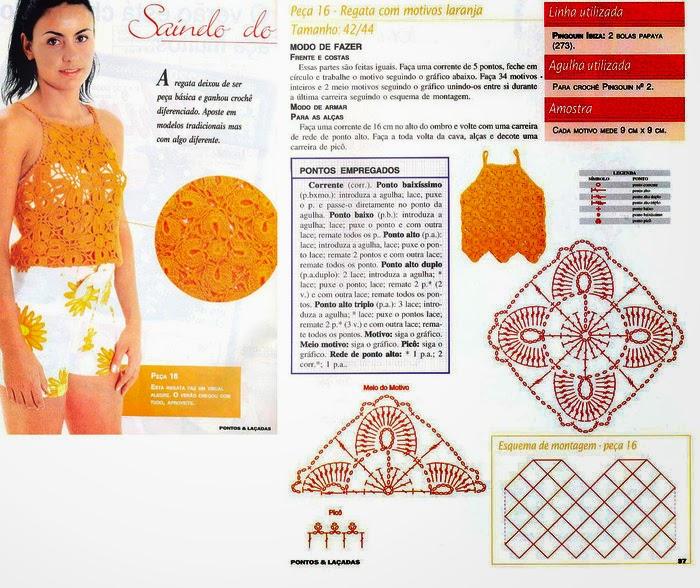 Top con diseño floral para tejer con ganchillo | Crochet y Dos ...