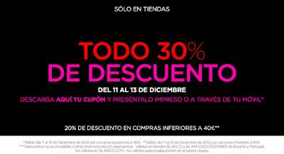 DESCUENTO 30% EN BLANCO ENTRE EL 11 Y EL 13 DE DICIEMBRE