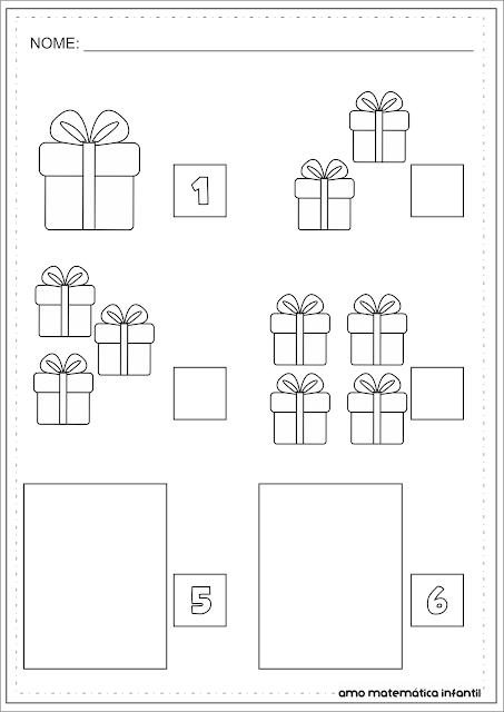 Sequência Numérica 1 a 6 Natal Atividade