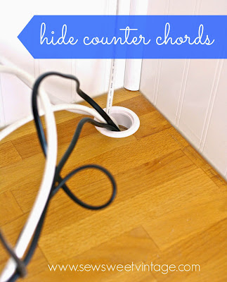 how to hide cable chords, how to cut a kitchen counter hole, counter grommet