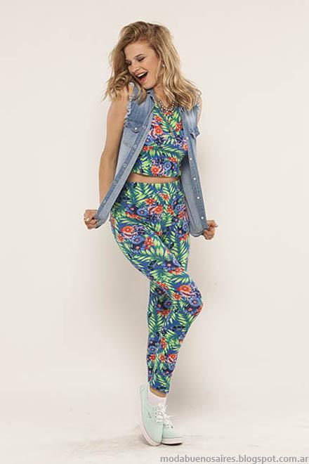 Conjunto de estampa tropical moda verano 2015 Doll Fins.