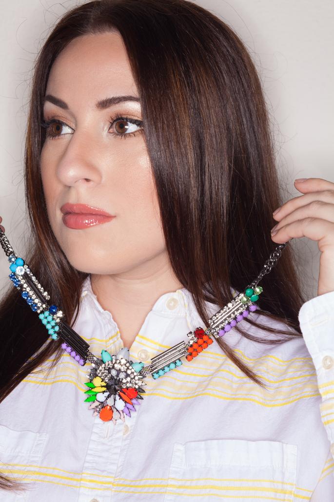the forward fashionista cerise rainbow statement necklace