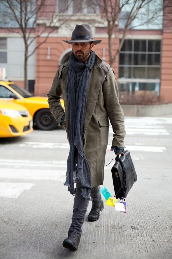 mens winter street style, new york city, waxed trench coat, long scarf, stetson hat, gray pants, snake boots, breif case, fingerless gloves, guys with beards, angels point of view