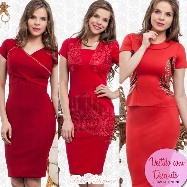 Cor Vermelho, vestidos na promoção!