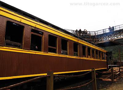 Vagão da Maria Fumaça na antiga estação ferroviária de Paranapiacaba
