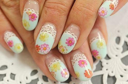 Floral prints for short nail